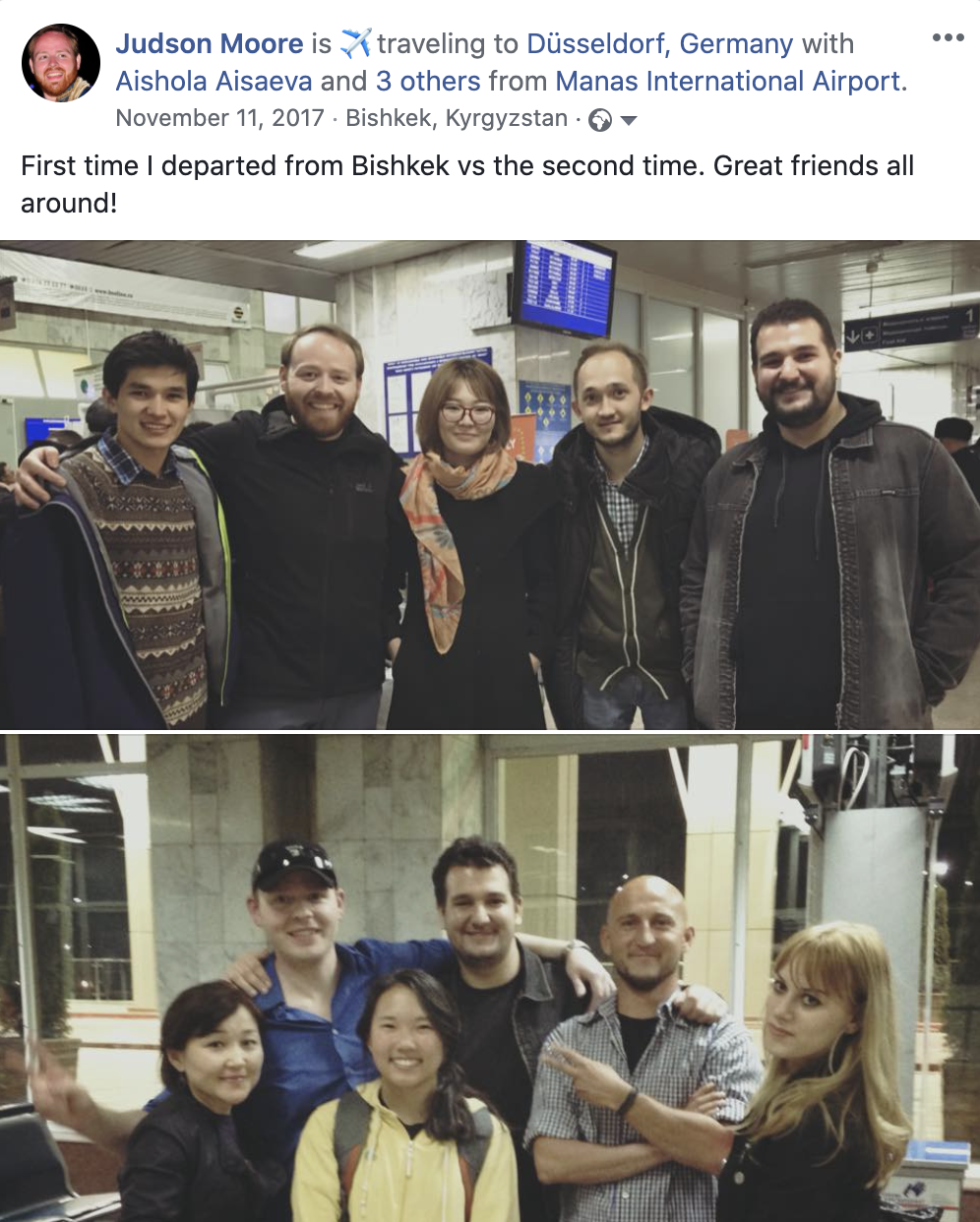 First time I departed from Bishkek vs the second time. Great friends all around!